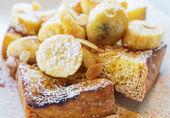 French toast with banana — Stock Photo