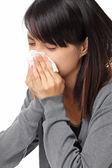 Sneezing woman — Stock Photo