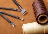 手工皮革工艺工具 — 图库照片