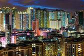 Apartment building in Hong Kong at night — Stock Photo