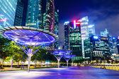 Singapur manzarası, gece — Stok fotoğraf