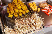 Thai style grilled food on market — Stock Photo