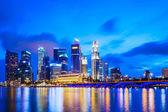Singapur skyline bei nacht — Stockfoto