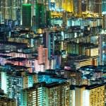 Kowloon downtown in Hong Kong at night — Stock Photo
