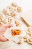 中国の餃子を作る — ストック写真