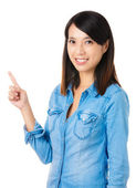 Asian woman pointing — Stock Photo