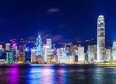 Horizonte de hong kong en la noche — Foto de Stock