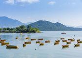 Beautiful sea coast and boat — Stock Photo