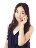 Mujer asiática con móvil — Foto de Stock