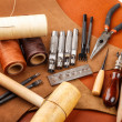 Stock Photo: Handmade leather craft tool