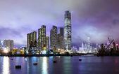 Kowloon district in Hong Kong at night — Stock Photo