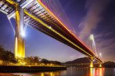 Ting kau suspensión puente en hong kong en la noche — Foto de Stock