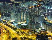 Stadsbilden i hong kong på natten — Stockfoto
