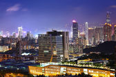 Downtown district in Hong Kong at night — Stock Photo