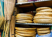 Wicker handmade wooden basket for sell — Stock Photo
