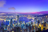Hong Kong skyline during sunrise — Stock Photo