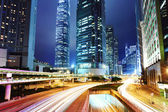 City with road at night — Stock Photo