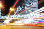 Traffic trail in city at night — Stock Photo