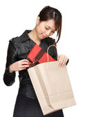 Asian woman bought a gift — Stock Photo