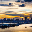 Silhouette of the cityscape in Hong Kong — Foto Stock
