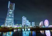 Yokohama skyline at night — Stock Photo