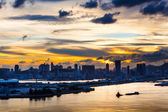 Silhouette of the cityscape in Hong Kong — Stock Photo