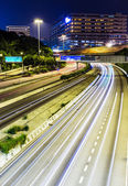 Traffic trail on highway at night — Stock Photo