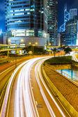 Hong kong stad drukke verkeer nachts — Stockfoto