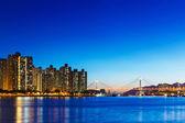 Residential building in Hong Kong at night — Stock Photo