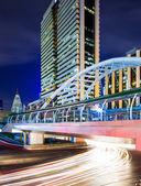 Bangkok skyline and traffic light — Stock Photo