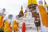 Pagoda and Buddha Statues at Wat Yai Chaimongkol — Stock Photo