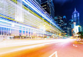 Traffic trail in urban city at night — Stock Photo