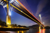 Ting Kau suspension bridge in Hong Kong at night — Stock Photo