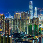 Hong Kong cityscape at night — Stock Photo