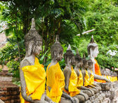 Ancient Buddha statue in temple — Stock Photo