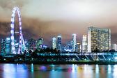 Singapore skyline på natten — Stockfoto