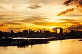 Silhuett av stadsbilden i hong kong — Stockfoto