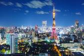 Tokyo stadens silhuett på natten — Stockfoto