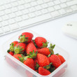 Healthy lunch box on working desk — Stock Photo #33162473