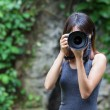 Female photographer takes photo — Stockfoto #33220789