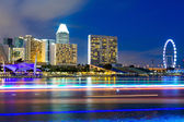 Skyline de la ciudad de singapur de noche — Foto de Stock