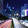 trafik iz gece hong kong şehir içinde — Stok fotoğraf