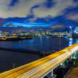 Hong Kong city with highway at night — Stock Photo