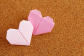 Two Origami heart — Stock Photo