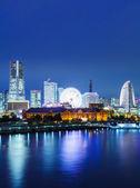 Yokohama manzarası, gece — Stok fotoğraf