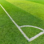 Soccer field grass with white line — Foto de Stock