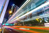 Traffic car lights in Hong Kong night — Stock Photo