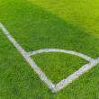 Soccer field grass with white line — Stock fotografie