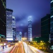 Busy traffic in Hong Kong at night — Stock Photo