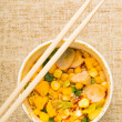Instant noodles with chopstick — Stock Photo